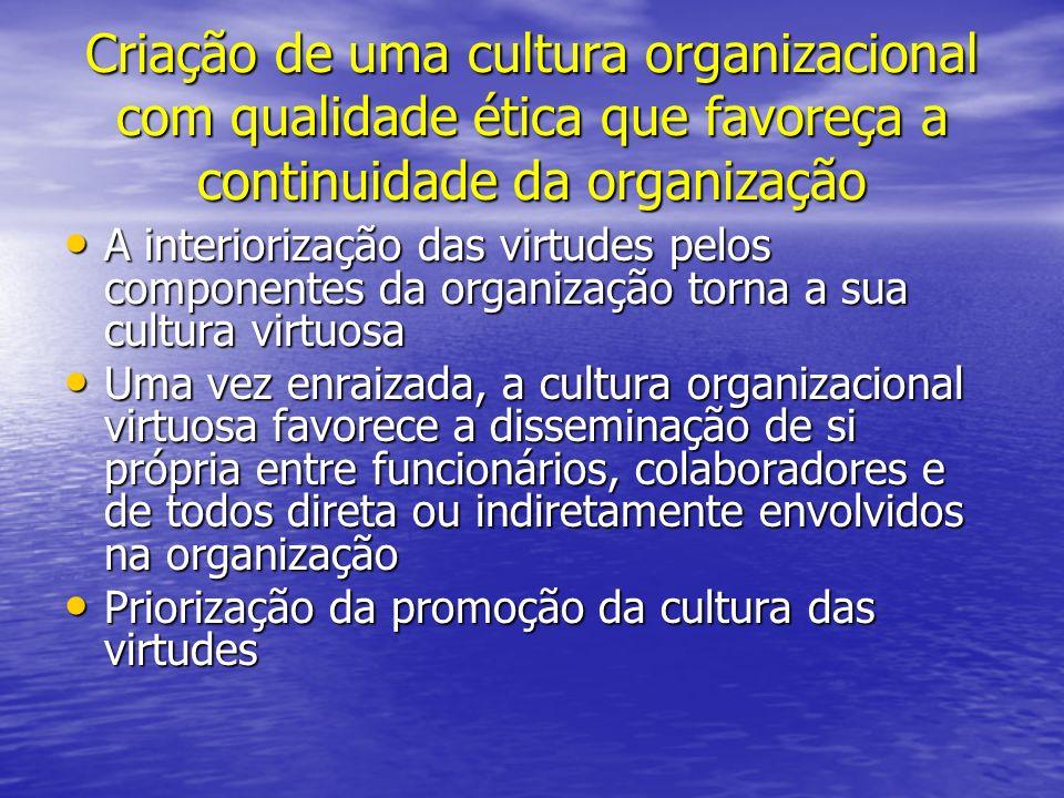 Criação de uma cultura organizacional com qualidade ética que favoreça a continuidade da organização