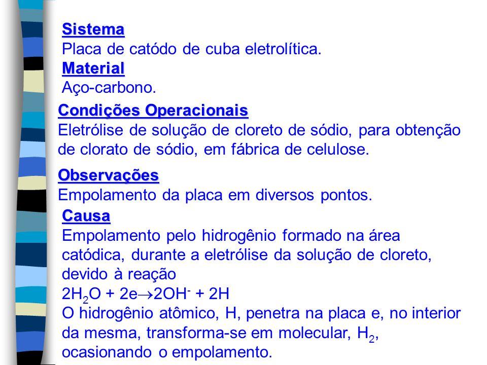 Sistema Placa de catódo de cuba eletrolítica. Material. Aço-carbono. Condições Operacionais.