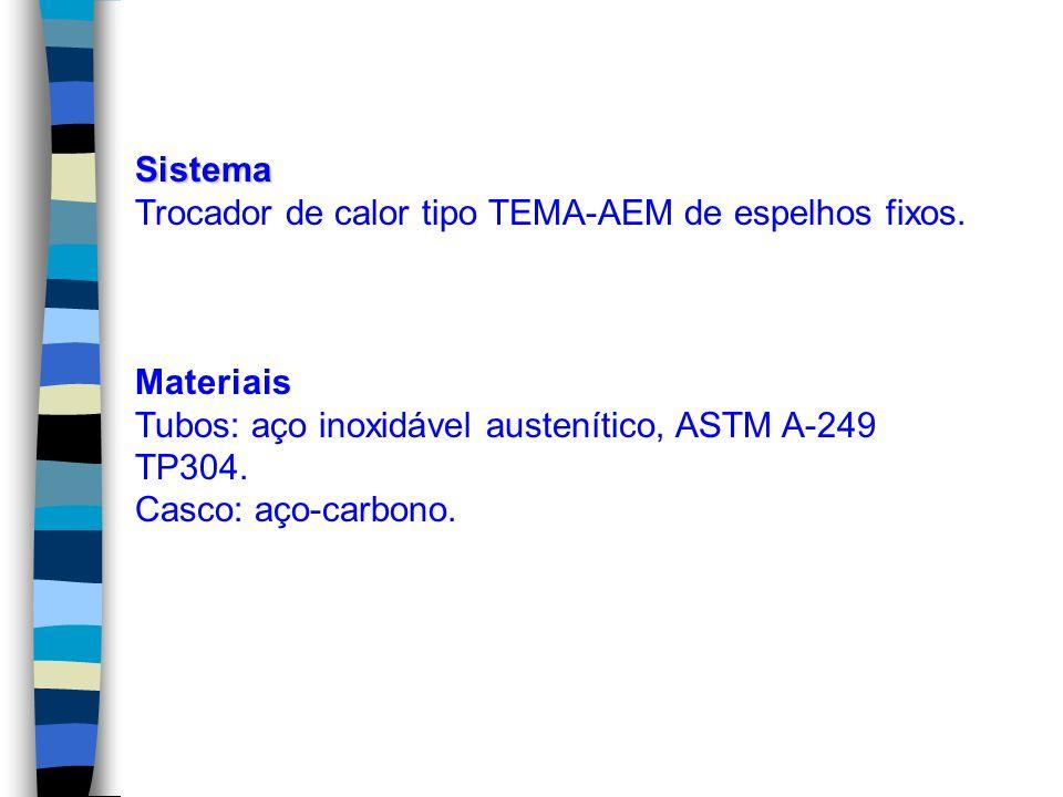 Sistema Trocador de calor tipo TEMA-AEM de espelhos fixos. Materiais. Tubos: aço inoxidável austenítico, ASTM A-249 TP304.