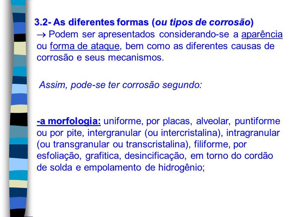 3.2- As diferentes formas (ou tipos de corrosão)