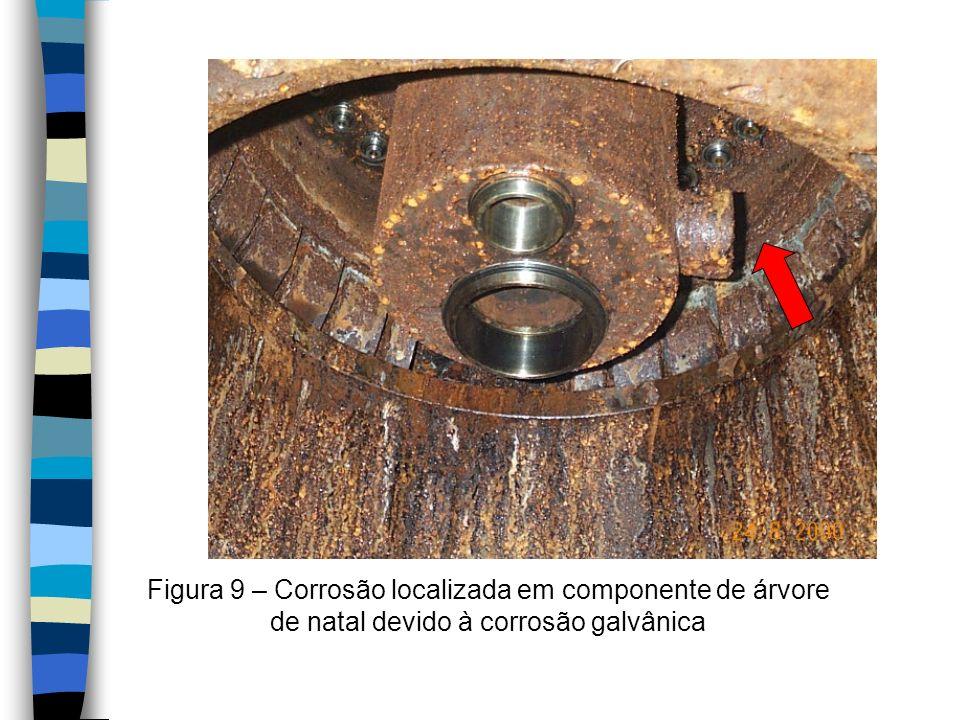 Figura 9 – Corrosão localizada em componente de árvore de natal devido à corrosão galvânica
