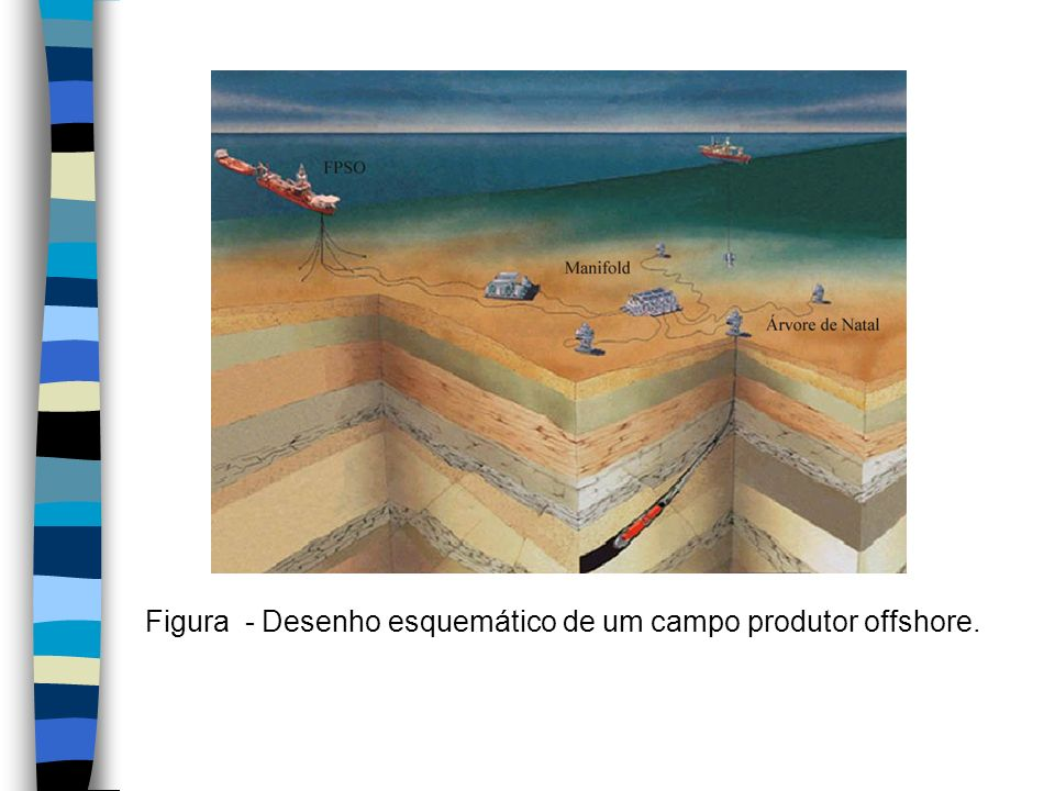 Figura - Desenho esquemático de um campo produtor offshore.