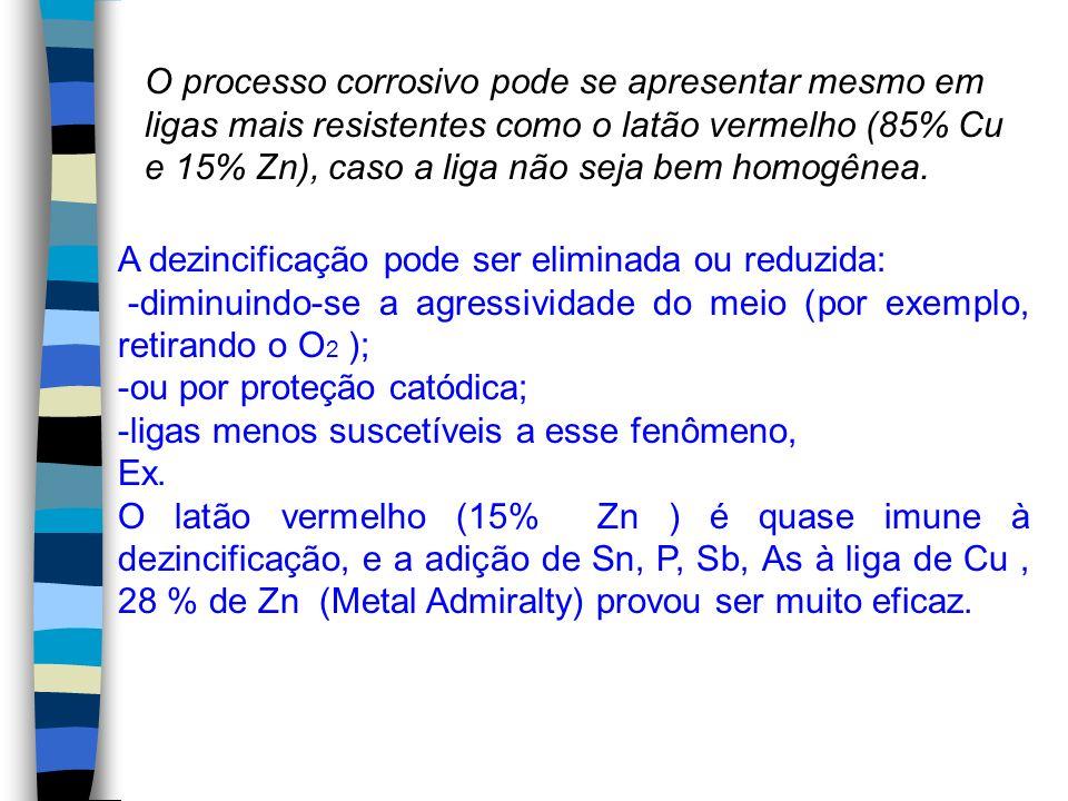 O processo corrosivo pode se apresentar mesmo em ligas mais resistentes como o latão vermelho (85% Cu e 15% Zn), caso a liga não seja bem homogênea.