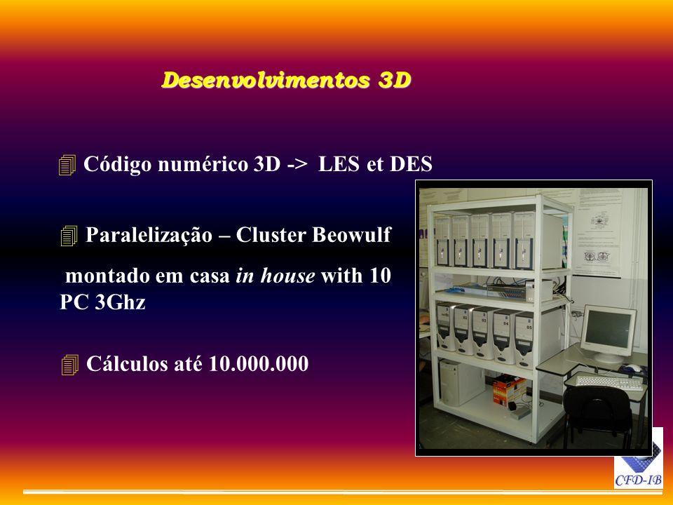 Desenvolvimentos 3D Código numérico 3D -> LES et DES. Paralelização – Cluster Beowulf. montado em casa in house with 10 PC 3Ghz.