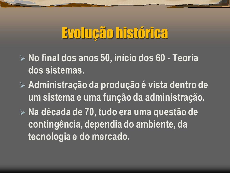 Evolução histórica No final dos anos 50, início dos 60 - Teoria dos sistemas.