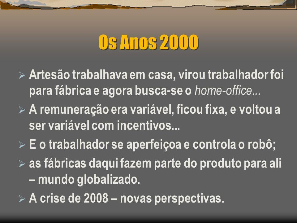 Os Anos 2000 Artesão trabalhava em casa, virou trabalhador foi para fábrica e agora busca-se o home-office...