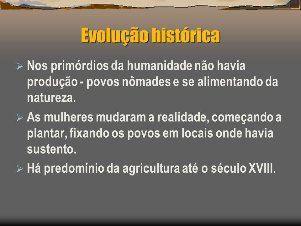 Evolução históricaNos primórdios da humanidade não havia produção - povos nômades e se alimentando da natureza.