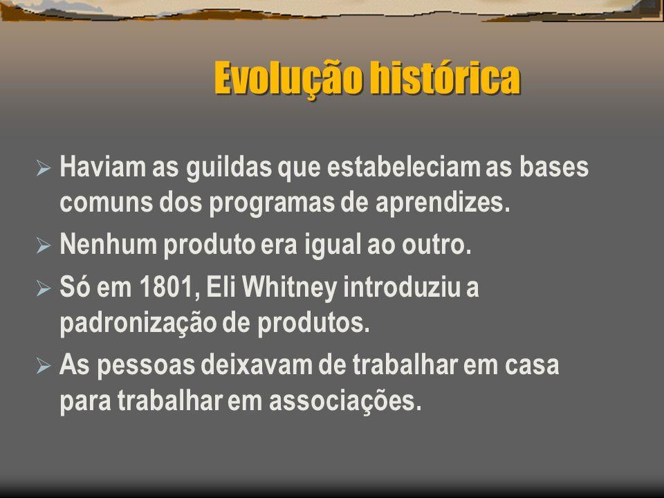 Evolução histórica Haviam as guildas que estabeleciam as bases comuns dos programas de aprendizes. Nenhum produto era igual ao outro.