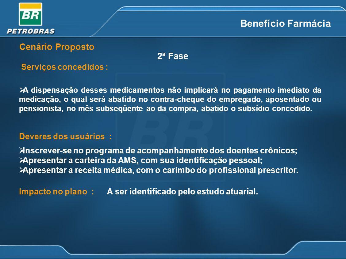Benefício Farmácia Cenário Proposto 2ª Fase Serviços concedidos :