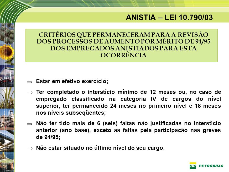 ANISTIA – LEI 10.790/03