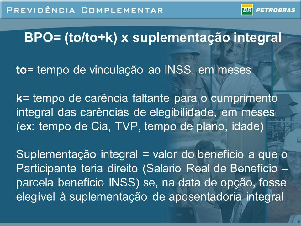 BPO= (to/to+k) x suplementação integral