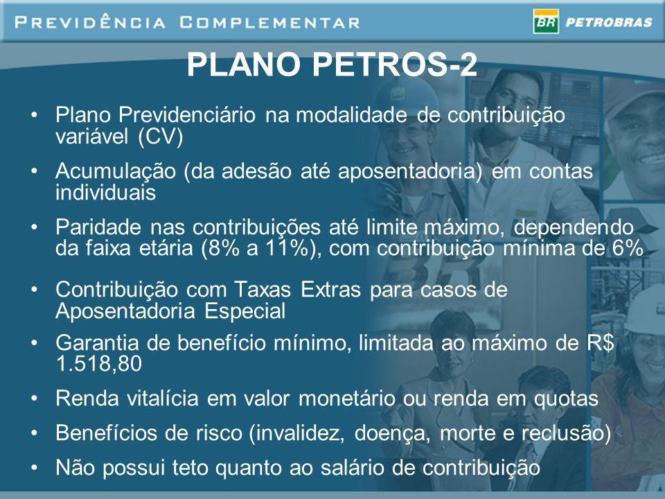 PLANO PETROS-2 Plano Previdenciário na modalidade de contribuição variável (CV) Acumulação (da adesão até aposentadoria) em contas individuais.