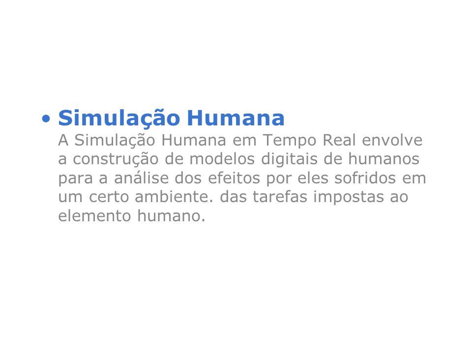 Simulação Humana A Simulação Humana em Tempo Real envolve a construção de modelos digitais de humanos para a análise dos efeitos por eles sofridos em um certo ambiente.