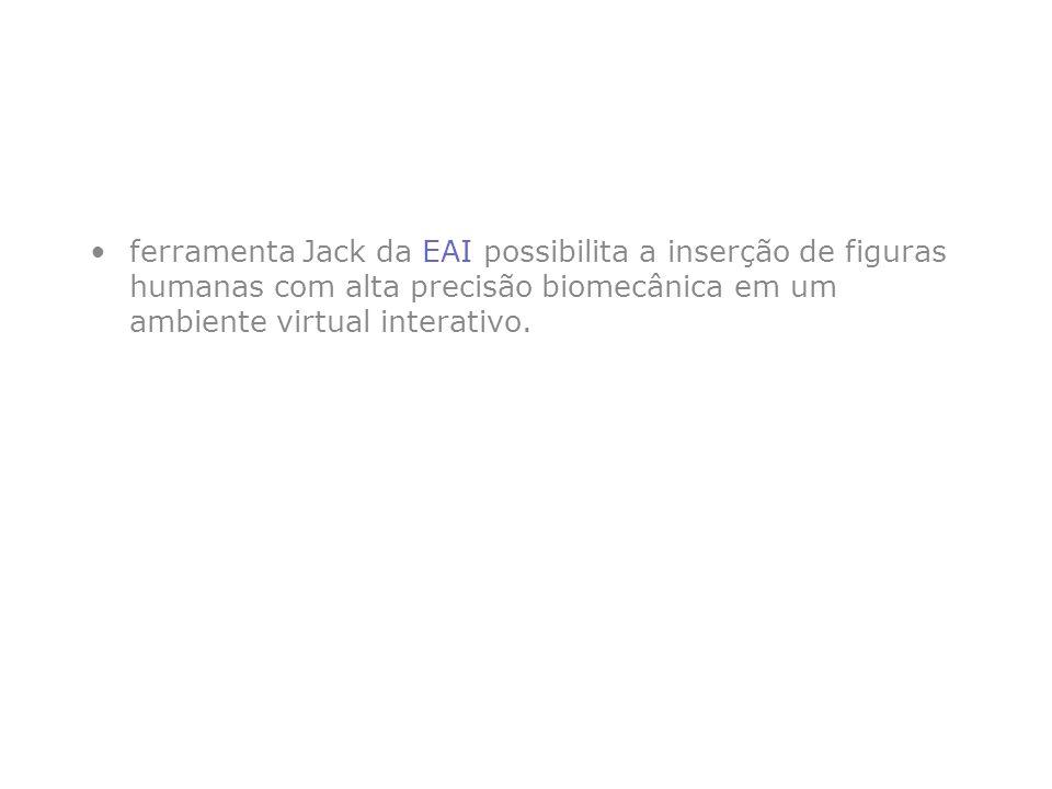 ferramenta Jack da EAI possibilita a inserção de figuras humanas com alta precisão biomecânica em um ambiente virtual interativo.