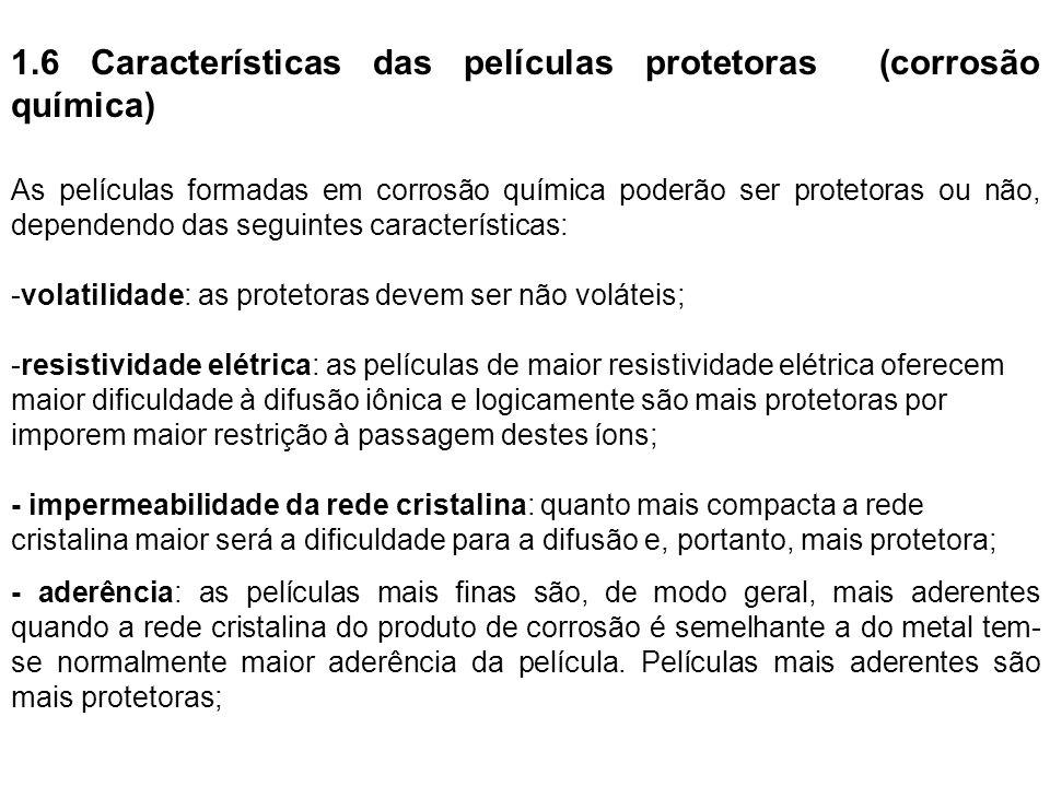 1.6 Características das películas protetoras (corrosão química)