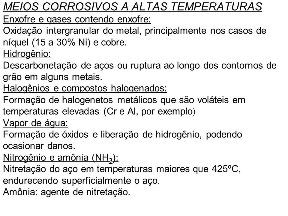 MEIOS CORROSIVOS A ALTAS TEMPERATURAS Enxofre e gases contendo enxofre: Oxidação intergranular do metal, principalmente nos casos de níquel (15 a 30% Ni) e cobre.
