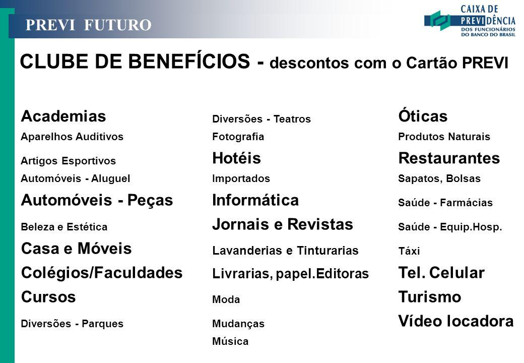 CLUBE DE BENEFÍCIOS - descontos com o Cartão PREVI