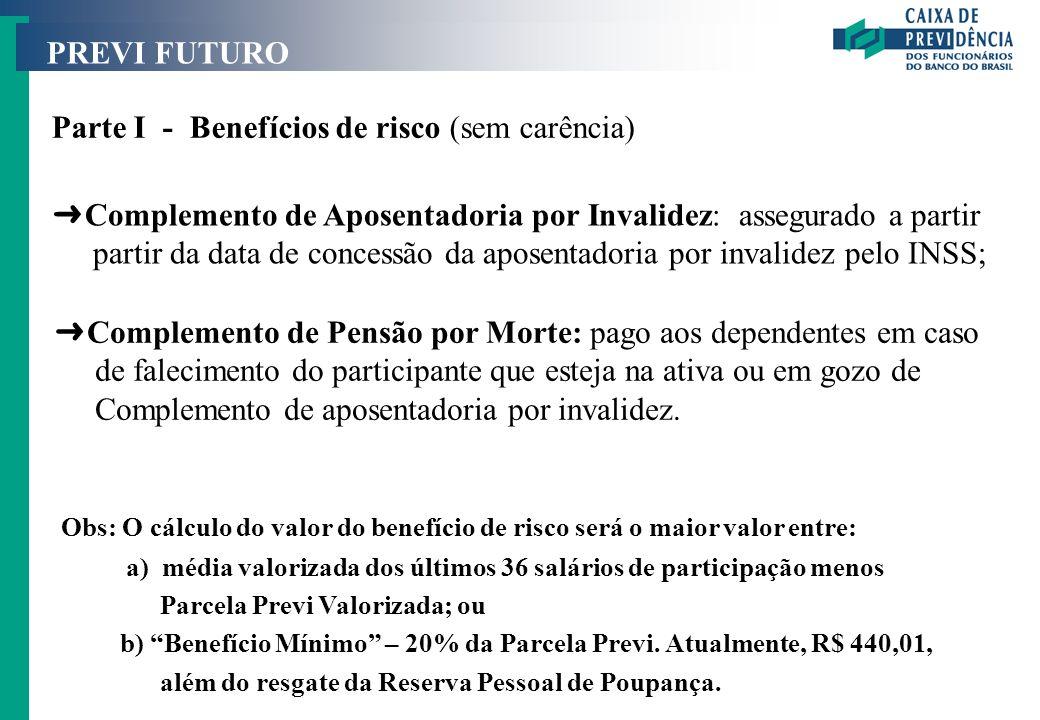 Parte I - Benefícios de risco (sem carência)