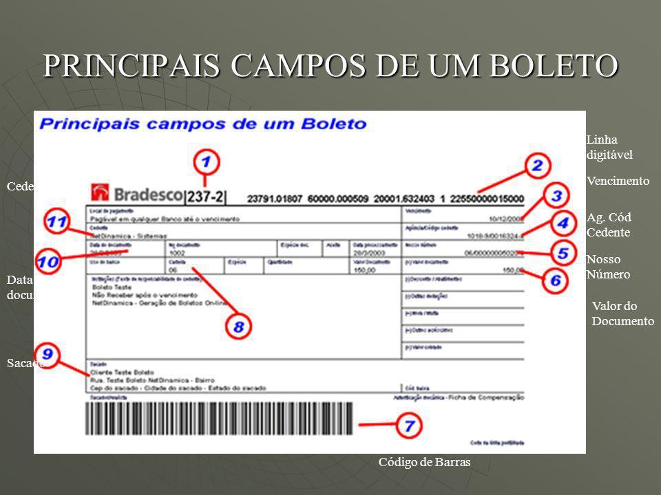 PRINCIPAIS CAMPOS DE UM BOLETO