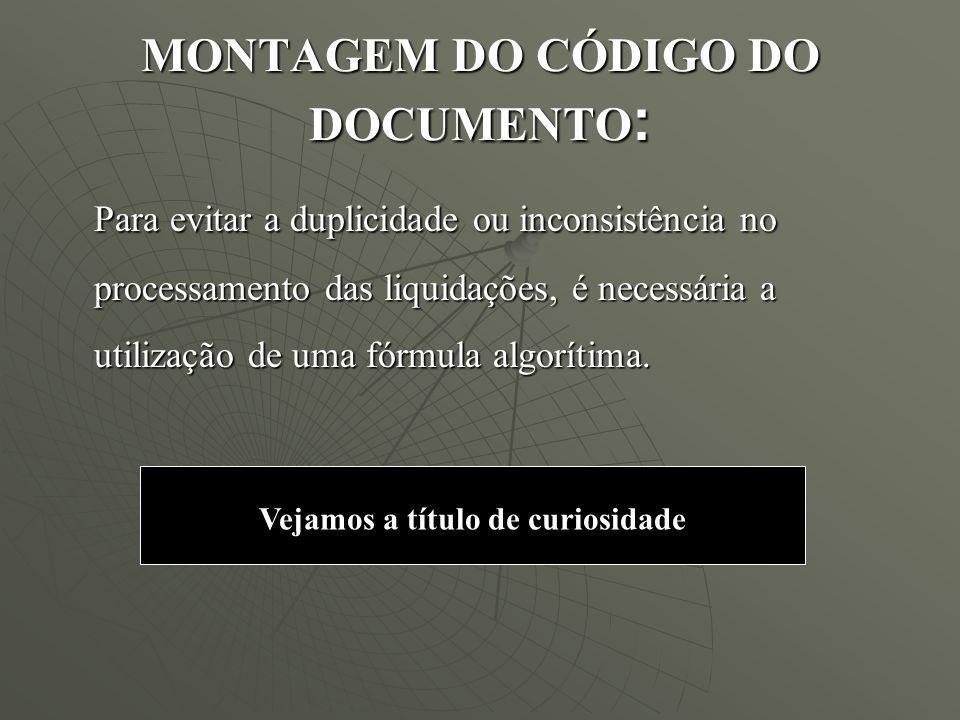 MONTAGEM DO CÓDIGO DO DOCUMENTO: