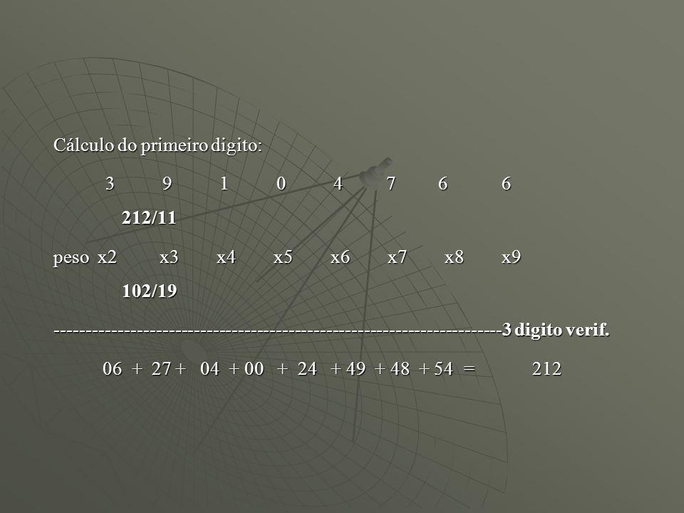 Cálculo do primeiro digito: