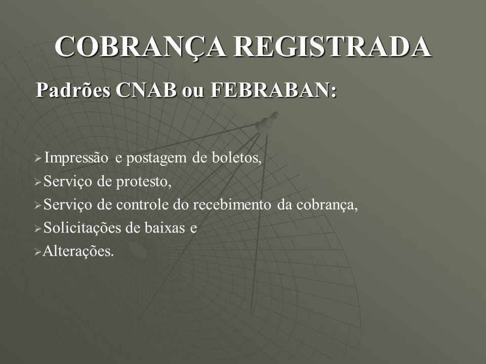 COBRANÇA REGISTRADA Padrões CNAB ou FEBRABAN: