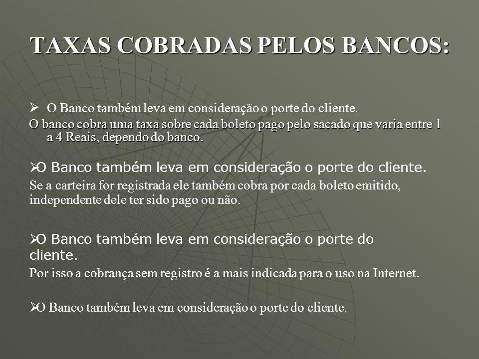 TAXAS COBRADAS PELOS BANCOS: