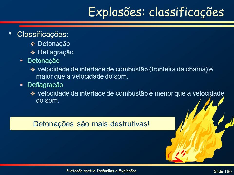 Explosões: classificações