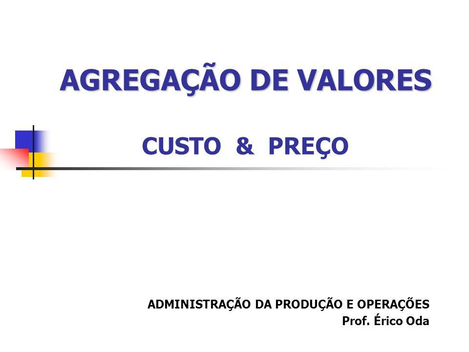 AGREGAÇÃO DE VALORES CUSTO & PREÇO