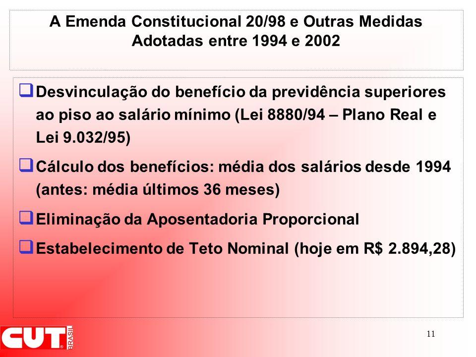 A Emenda Constitucional 20/98 e Outras Medidas Adotadas entre 1994 e 2002