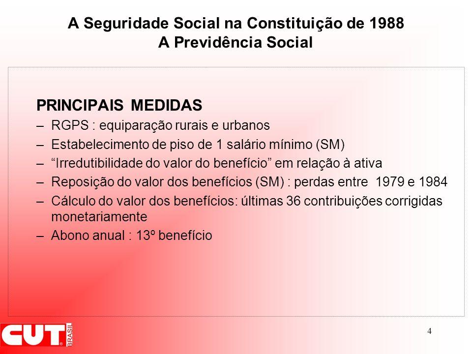 A Seguridade Social na Constituição de 1988 A Previdência Social