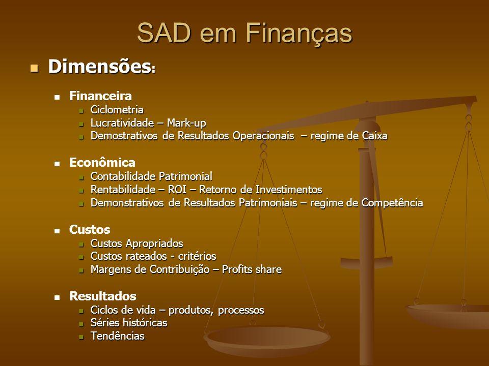SAD em Finanças Dimensões: Financeira Econômica Custos Resultados