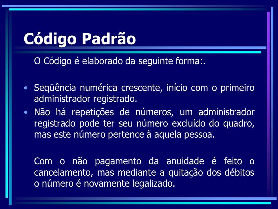 Código Padrão O Código é elaborado da seguinte forma:.