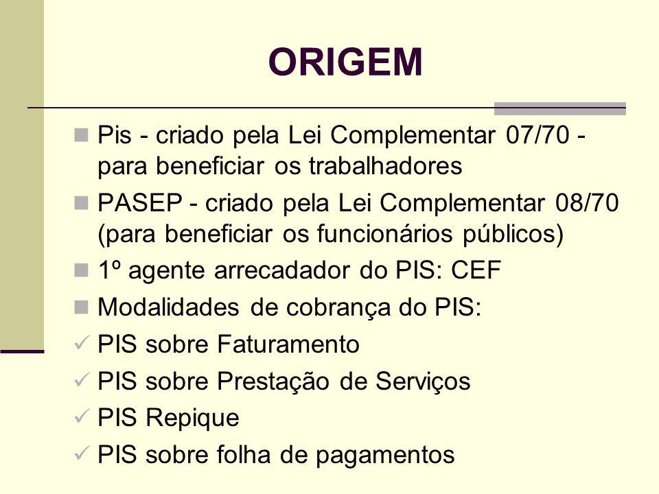 ORIGEM Pis - criado pela Lei Complementar 07/70 - para beneficiar os trabalhadores.