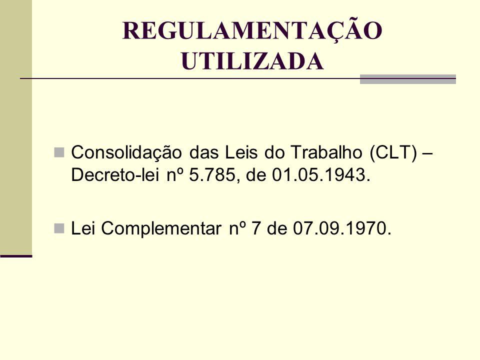 REGULAMENTAÇÃO UTILIZADA