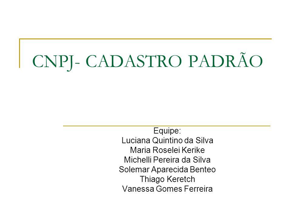 CNPJ- CADASTRO PADRÃO Equipe: Luciana Quintino da Silva