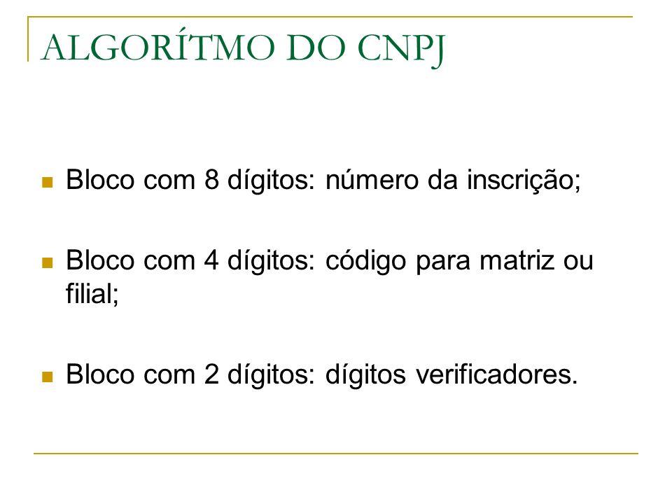 ALGORÍTMO DO CNPJ Bloco com 8 dígitos: número da inscrição;