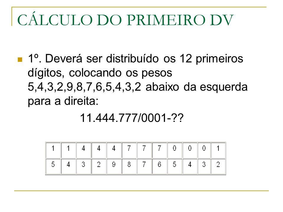 CÁLCULO DO PRIMEIRO DV