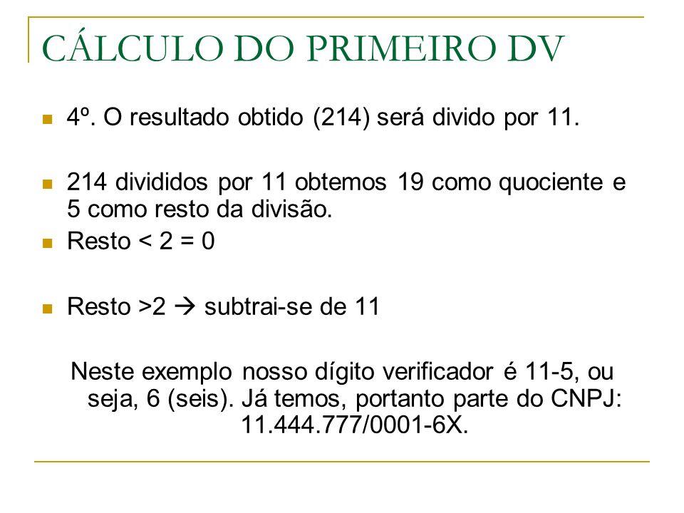 CÁLCULO DO PRIMEIRO DV 4º. O resultado obtido (214) será divido por 11. 214 divididos por 11 obtemos 19 como quociente e 5 como resto da divisão.