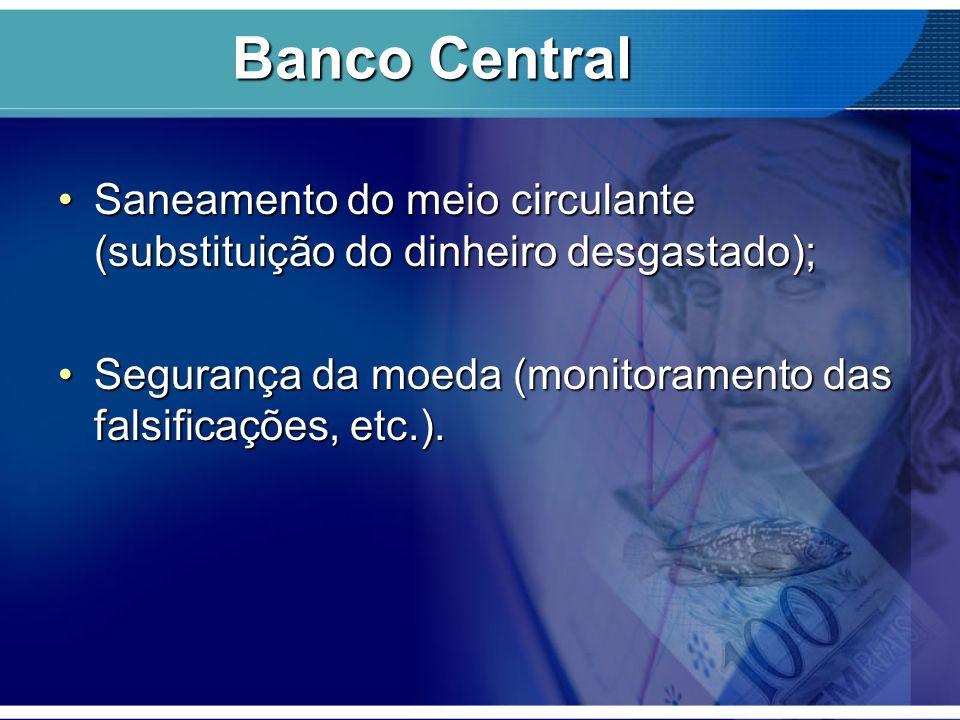 Banco Central Saneamento do meio circulante (substituição do dinheiro desgastado); Segurança da moeda (monitoramento das falsificações, etc.).