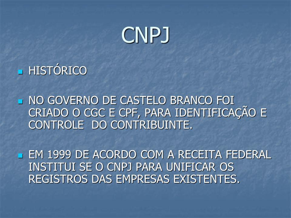 CNPJ HISTÓRICO. NO GOVERNO DE CASTELO BRANCO FOI CRIADO O CGC E CPF, PARA IDENTIFICAÇÃO E CONTROLE DO CONTRIBUINTE.