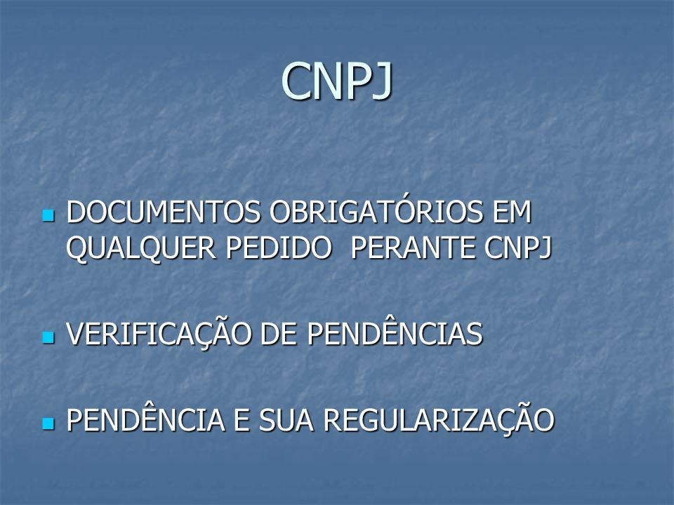 CNPJ DOCUMENTOS OBRIGATÓRIOS EM QUALQUER PEDIDO PERANTE CNPJ
