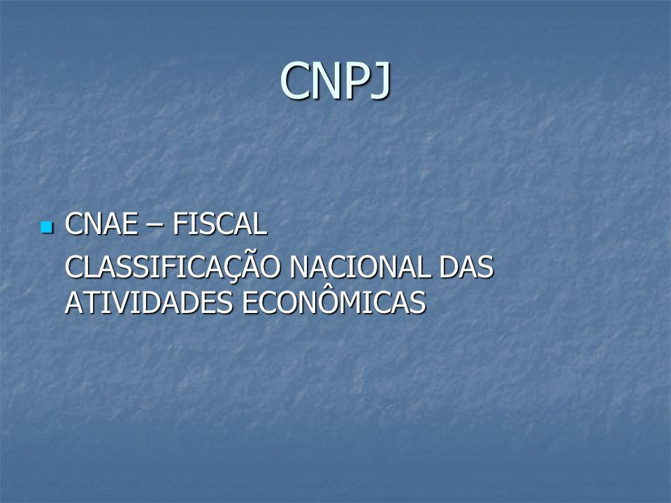 CNPJ CNAE – FISCAL CLASSIFICAÇÃO NACIONAL DAS ATIVIDADES ECONÔMICAS