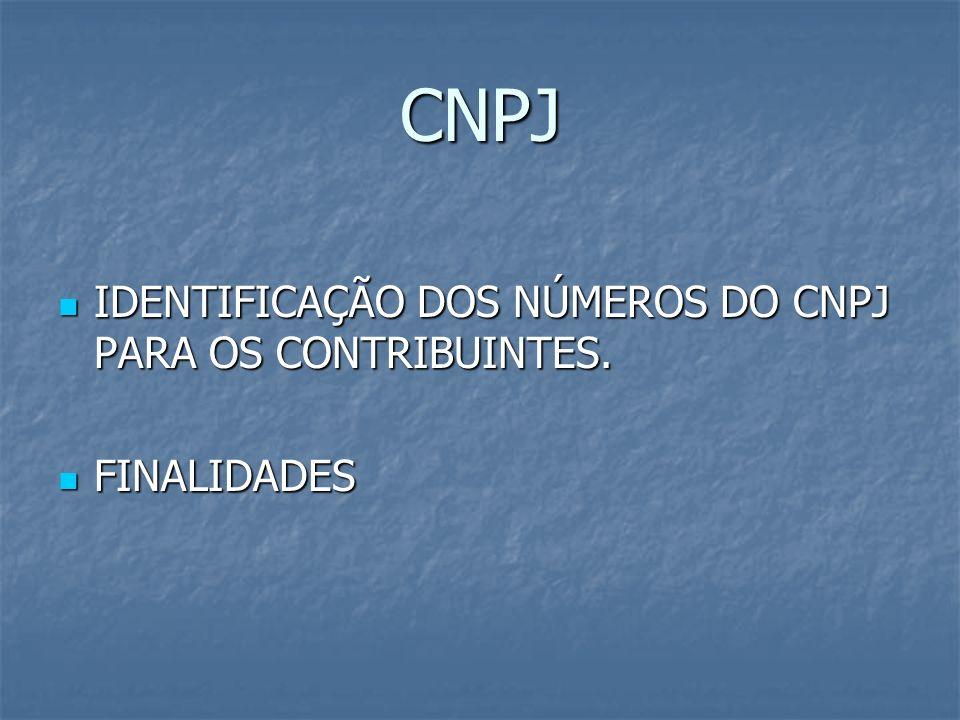 CNPJ IDENTIFICAÇÃO DOS NÚMEROS DO CNPJ PARA OS CONTRIBUINTES.