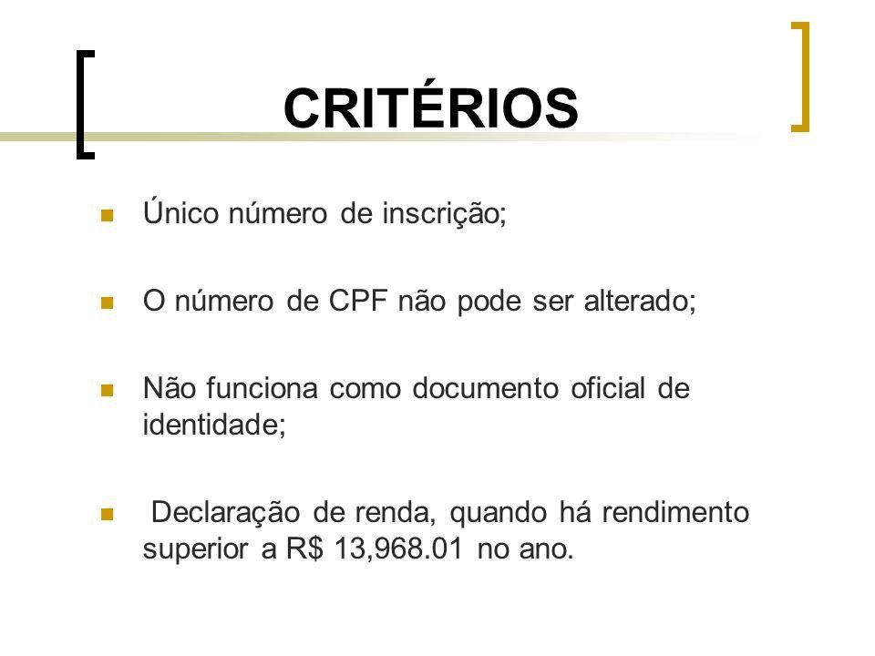 CRITÉRIOS Único número de inscrição;