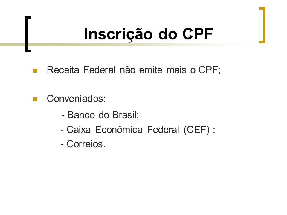 Inscrição do CPF - Banco do Brasil;