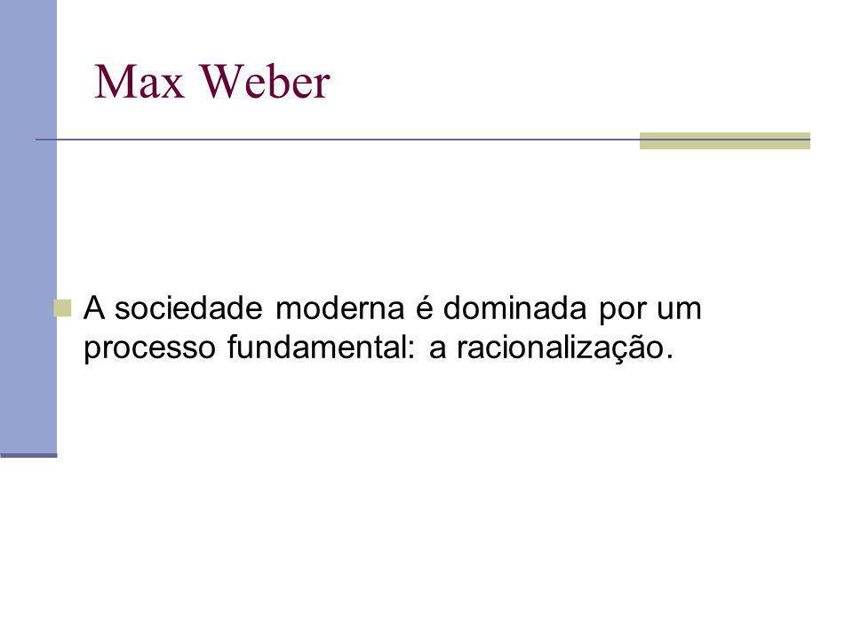 Max Weber A sociedade moderna é dominada por um processo fundamental: a racionalização.