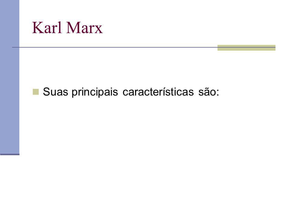 Karl Marx Suas principais características são: