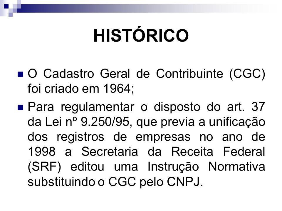 HISTÓRICO O Cadastro Geral de Contribuinte (CGC) foi criado em 1964;