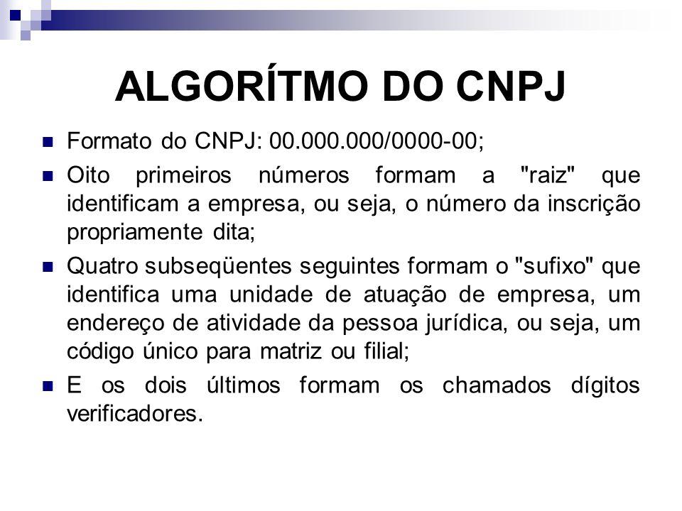 ALGORÍTMO DO CNPJ Formato do CNPJ: 00.000.000/0000-00;